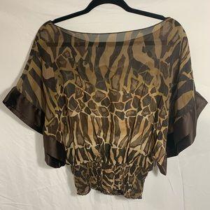 EXPRESS brown animal print blouse
